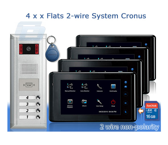 Video domofons VIDEO-TECH 4xFLATS 2-WIRE SYSTEM CRONUS